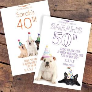 Details About Funny Dogs Birthday Invitations Party Invites Personalised Any Age 30th 21st