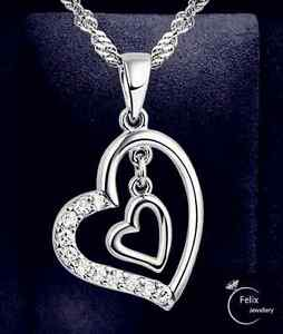 Double Heart Pendant 925 Sterling Silver Jewellery Necklace Chain Women Gifts by Ebay Seller