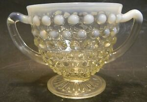 Vintage Fenton Opalescent Moonstone Hobnail Glass Sugar Bowl Great Condition North American Art Glass