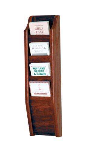 "Wooden Mallet Cascade 4 Pocket Brochure Rack Mahogany 3.25/""x22.5/""x3.25/"" BR24-4MH"
