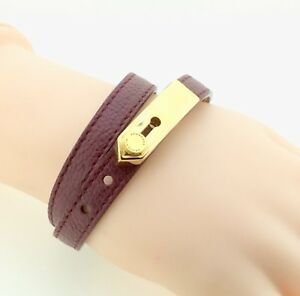 Image Is Loading Burberry Epaulette Plaque Purple Leather Wraparound Bracelet 6