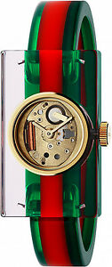New-Gucci-Fashion-Show-Skeleton-Dial-Ladies-Bangle-Watch-YA143501