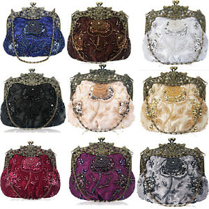 a8a99bd0394 Image is loading Vintage-Sequin-Beads-Evening-Handbags-Clutch-Bag-Wedding-
