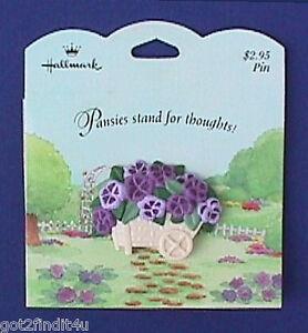 Hallmark-PIN-Easter-Vintage-PANSIES-Flower-WHEELBARROW-Brooch-NEW