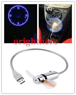 Mini Flexible Gooseneck LED Clock USB Fan For PC Notebook Time Display Cool OE
