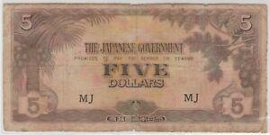 Mazuma *M1355 Malaya Japanese WWII JIM 1942 $5 MJ F Only