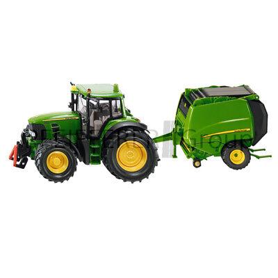 Fettiges Essen Zu Verdauen Spielzeug Trendmarkierung Siku Super 1:87 John Deere Traktor Mit Ballenpresse Um Zu Helfen Baufahrzeuge & Traktoren