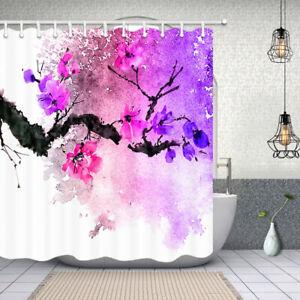 Image Is Loading Floral Shower Curtain Purple Watercolor Flower Bathroom Waterproof