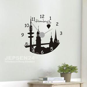 Hamburg-Skyline-Uhr-01-Wandtattoo-60cm-schwarz-mat-inkl-Uhrwerk-silber-schwarz