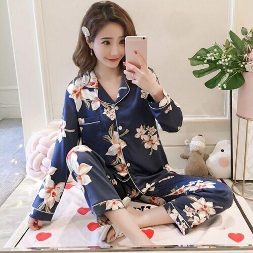 Womens Silk Satin Print Pajamas Set Sleepwear Sets Plus Size/_/_/_For Mother Gift