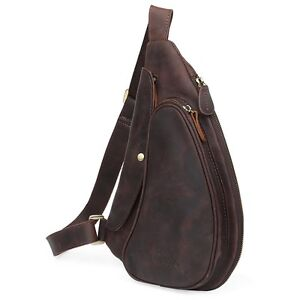 Men/'s Brown Real Leather Small Shoulder Sling Bag Sports Pouch Pack Cross Body