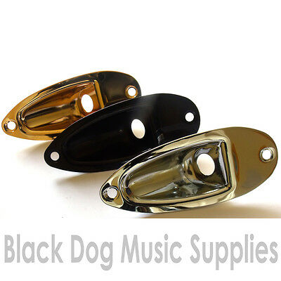 Recessed guitar Input Jack socket Plate in chrome black or gold strat type