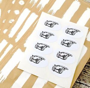 Vintage-Pointing-Hand-Stickers-Wedding-Invite-Seals-Oval-Labels-Oval-Stickers