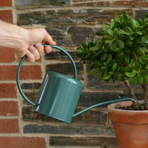 Indoor Small Green Watering Can Metal Galvanised Steel 1.4L Narrow Spout Plants