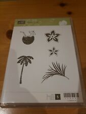 Palm Tree Hibiscus Flower Tropical Beach Luau Drink Rubber Stamp Set for Stamping Crafting Planners