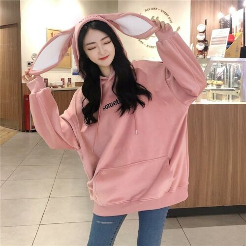 Women Girl Loose Pullover Sweatshirt Hoodies Top Velvet Japanese Bunny Ear White