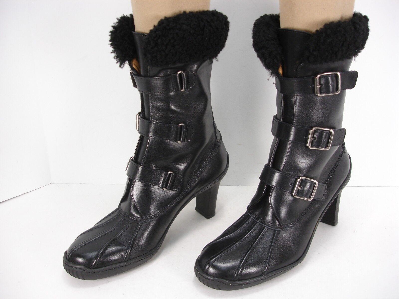 Ralph Lauren Negro Cuero Cuero Cuero Hebilla frontal Tacón Alto botas De Invierno Para Mujer Menta 6 B  hasta un 65% de descuento