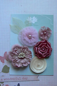 PINK-BEAUTY-All-Fabric-Organza-Satin-Mix-5-Flowers-30-60mm-Leaves-Green-Tara-3
