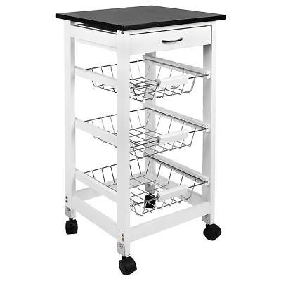 3 Tier Kitchen Trolley White Wooden Cart Basket Storage Drawer By Home Discount