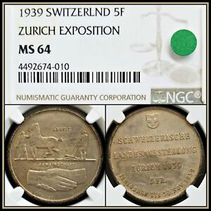 1939-Silver-Switzerland-Zurich-Expo-5-Francs-NGC-MS64-Unc-Toned-Swiss-5F-Coin