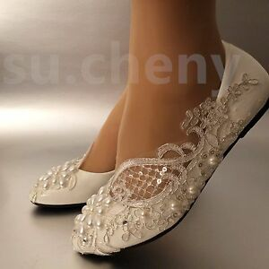 9d9d291e89a2 su.cheny Lace white ivory pearls flats low high heel pumps Wedding ...