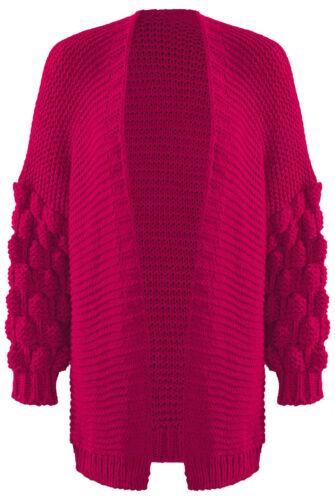 Women Wool Bobble Knit Sleeve Cardigan Ladies Winter High Street Sweaters Jumper