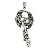 Solid Sterling Silver Phoenix Pendant Alchemy Occult Bird Avian Eagle Jewelry