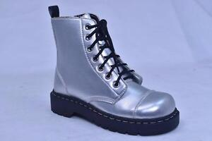 ANARCHIC 7 EYE SILVER LEATHER CAP TOE BOOTS T2162 US 6 WOMENS EUR 37 NOS PUNK