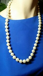 Creamy-White-Faux-Glass-Pearl-Necklace-10mm-24-Inch-Vintage-Bride-Wedding