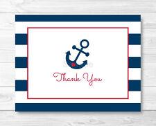 Nautical Anchor Blue & Red Thank You Card Printable