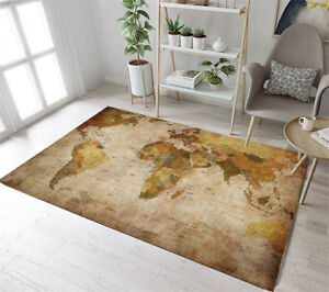 Vintage World Map Area Rugs Dining Room Home Decor Bedroom Mat