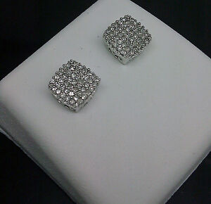 Details About 10k Men S Women Square White Gold 0 25ct Diamond Studs Earrings