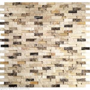 Details about Beige Brown Interlocking Pattern Marble Mosaic Tile Kitchen  Shower Backsplash