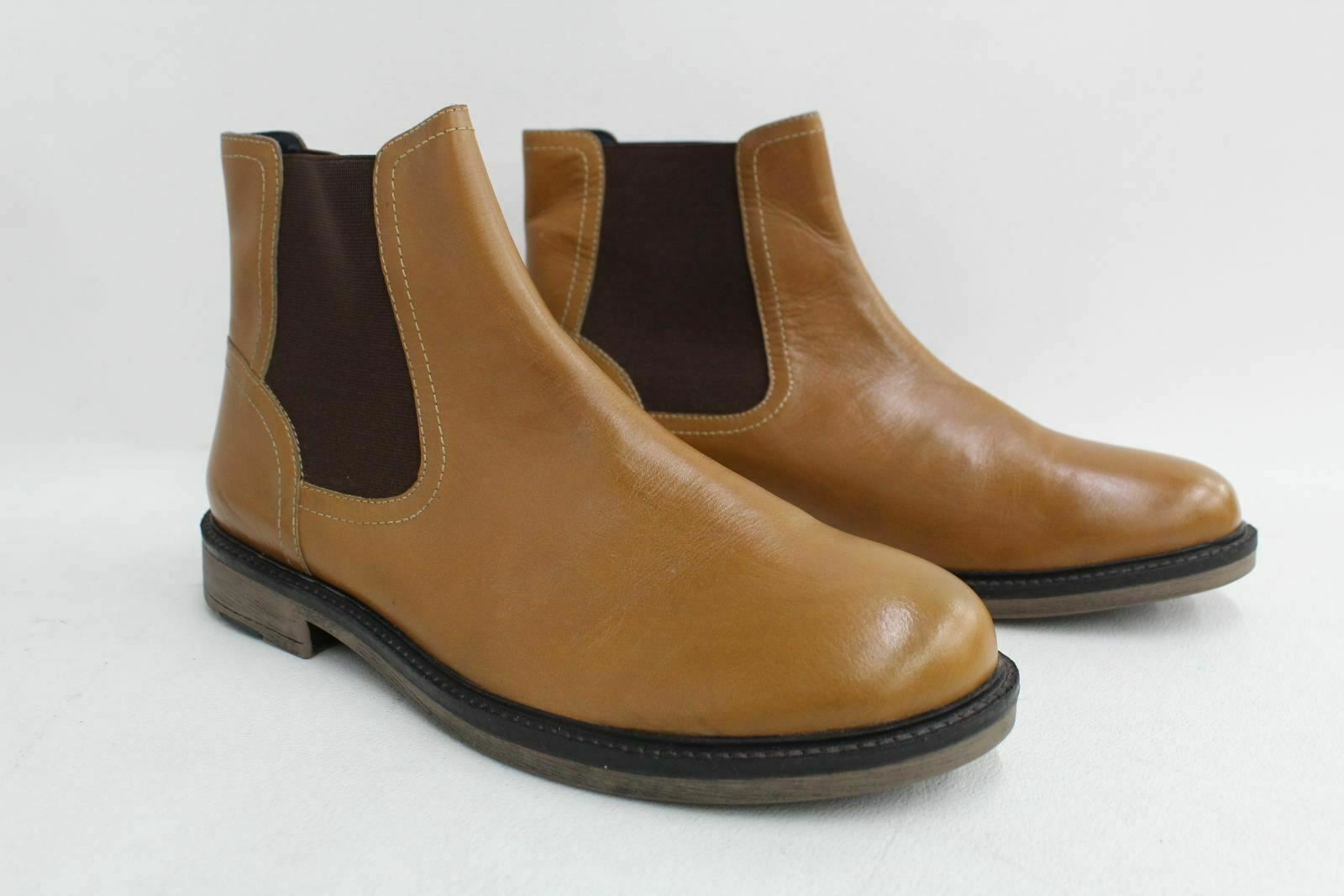 REDFOOT Men's Tan Brown Leather Pull On Chelsea Ankle Boots Approx UK8 NEW
