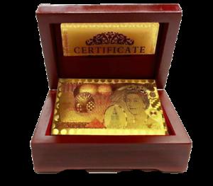 24K Placcato Oro carte da gioco poker ponte in legno regalo 99.9/% CERTIFICATO