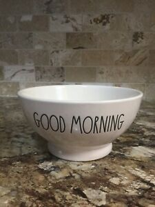 Rae-Dunn-Bowl-GOOD-MORNING-Ivory-Large-Letters-Cereal-Soup-Ice-Cream-Farmhouse