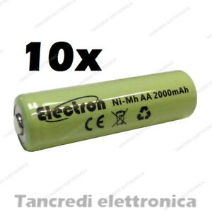 10pz-Batteria-Stilo-AA-2000-mAh-mA-ricaricabile-rechargeable-battery-Ni-Mh-NiMh