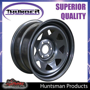 16X8-Sunraysia-6-114-3-PCD-20-Black-Thunder-Steel-Wheel-Rim-Navara-D40-NP300