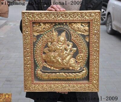 """17""""tibet Buddhism Silver 24k Gold Gilt Inlay Gem Vaishravana Tangka Wall Hanging Without Return"""