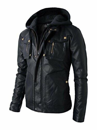 New Men/'s Motorcycle Brando Style Biker Real Leather Hoodie Jacket Detach Hood