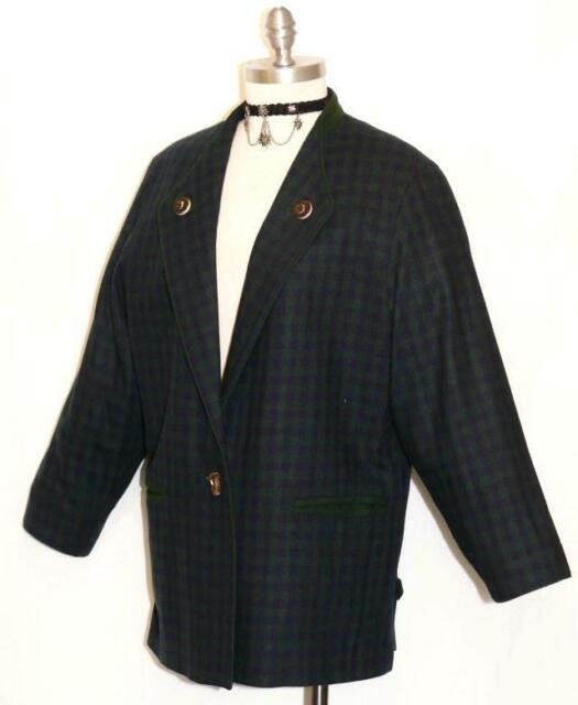 Steinbock Jacket Green Blue Plaid Women Wool Austria Hunting Suit 14