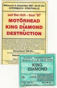 Sammlertickets-MOTORHEAD-KING-DIAMOND-2x-von-039-86-039-87-foliert-zum-Schutz