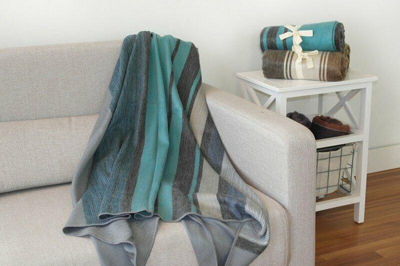 Alpaca Wool Throws Striped Soft and Warm - Teal   MultiColoreeeee