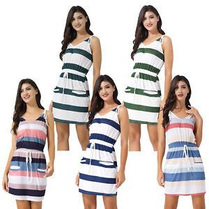 Women's Summer Stripe Sleeveless V Neck Mini Dress Beach Casual Pocket Sundress