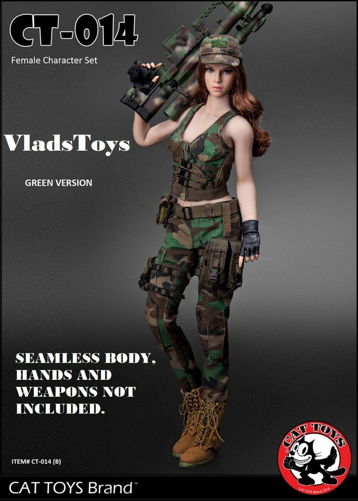 Cat Toys 1 6 Militare Femmina Personaggio Set Accessori B green Bosco Camo 014b