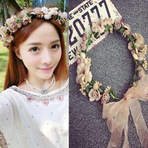 9da277f1ea06bb Das Bild wird geladen Boho-Damen-Haarband-Blumen-Kranz-Blueten-Geflochten- Stirnband-