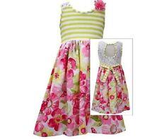 Bonnie Jean Girls Lime Stripe Pink Floral Print Skirt Spring Summer Dress Sz 12