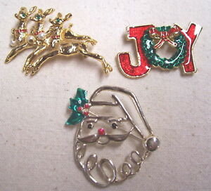 3ba80165a1e3a Details about 3 Beautiful Christmas Jewelry Pins by AA1 Rndr/Joy/Snta