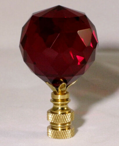 LAMP FINIAL-STUNNING LEADED CRYSTAL LAMP FINIAL-RED