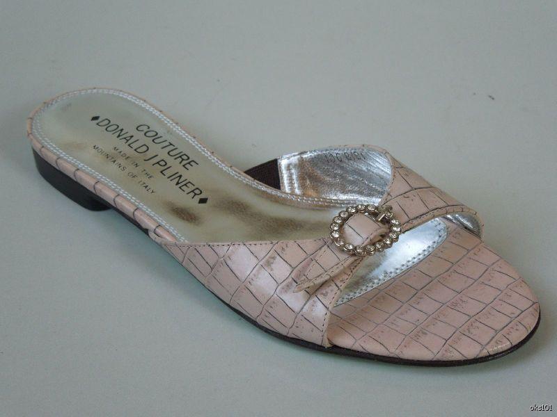 New DONALD J PLINER Couture 'Bibi' pink croco Jeweled mules slides flats shoes